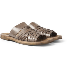 Dolce & Gabbana Woven Burnished-Leather Sandals