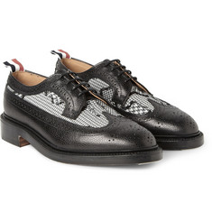 Thom Browne Houndstooth Jacquard and Pebble-Grain Leather Brogues