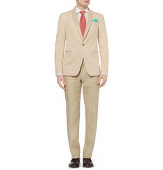Etro Slim-Fit Faux Suede-Collar Cotton Blazer
