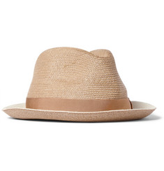 Borsalino Two-Tone Woven-Hemp Trilby Hat