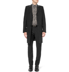 Saint Laurent Leather-Trimmed Wool-Blend Chesterfield Jacket