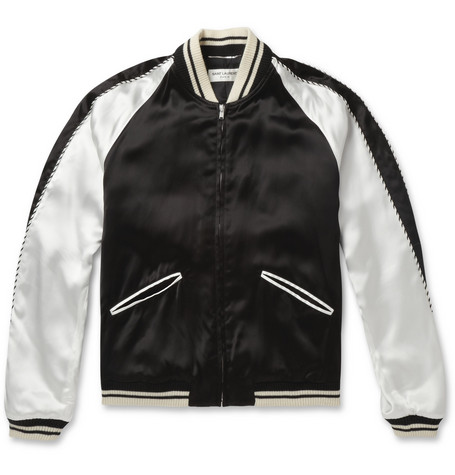 Saint Laurent Blood Lustre Embellished Satin Bomber Jacket