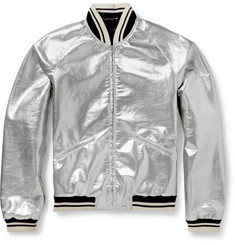 Saint Laurent Metallic Coated Wool-Blend Bomber Jacket