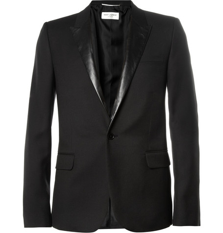 Saint Laurent Slim-Fit Leather-Trimmed Wool Blazer
