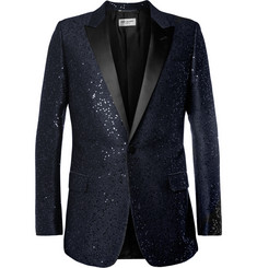 Saint Laurent Sequin-Embellished Wool-Blend Tuxedo Jacket