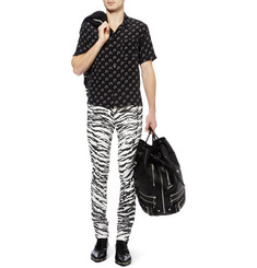 Saint Laurent Slim-Fit 15.5cm Hem Zebra-Print Jeans