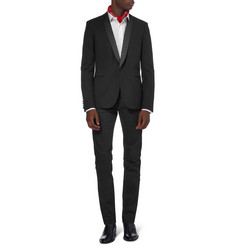 Saint Laurent Slim-Fit Textured-Wool Tuxedo Blazer