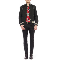Saint Laurent Leather-Trimmed Wool-Twill Varsity Jacket