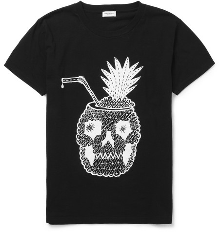Saint Laurent Printed Cotton Crew Neck T-Shirt