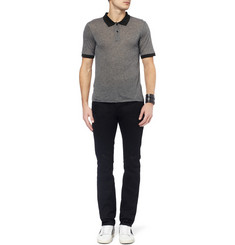 Saint Laurent Striped Fine-Jersey Polo Shirt