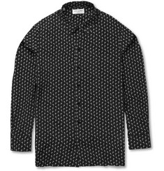 Saint Laurent Palm Tree-Print Silk Shirt