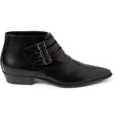 Saint Laurent Buckled Leather Ankle Boots