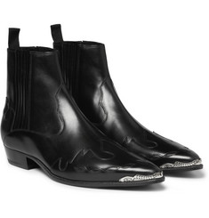 Saint Laurent Flame-Patterned Leather Chelsea Boots
