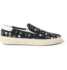 Saint Laurent Printed Canvas Slip-On Sneakers