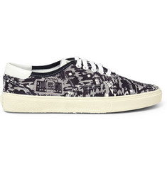 Saint Laurent Printed Canvas and Leather Sneakers
