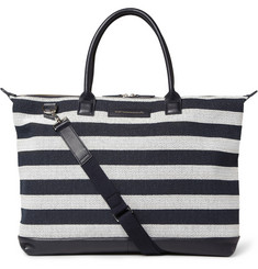 WANT Les Essentiels de la Vie Lindbergh Striped Leather-Trimmed Canvas Tote Bag
