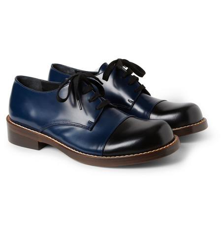 Marni Two-Tone Polished-Leather Derby Shoes