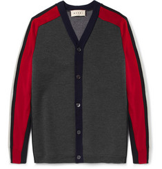Marni Panelled Bonded Wool-Blend Cardigan