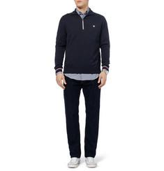John Smedley Farmon Zip-Collar Sea Island Cotton Polo Shirt