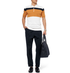John Smedley Janko Striped Fine-Knit Polo Shirt