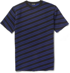 Raf Simons Striped Knitted-Jersey Short-Sleeved Sweatshirt