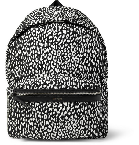 Saint Laurent Leather-Trimmed Baby Cat-Patterned Backpack