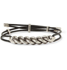 Saint Laurent Burnished-Silver and Leather Bracelet