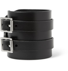 Saint Laurent Double-Buckle Leather Cuff