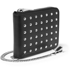 Saint Laurent Metal-Studded Leather Wallet