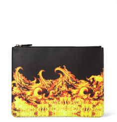 Givenchy Large Flame-Print Leather Pouch