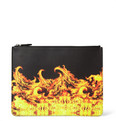 Givenchy - Large Flame-Print Leather Pouch