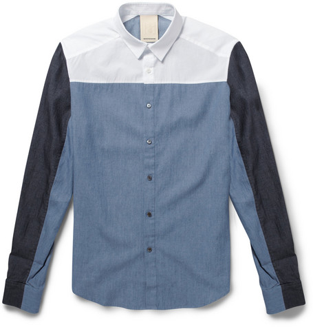 Wooyoungmi Slim-Fit Panelled Cotton Shirt
