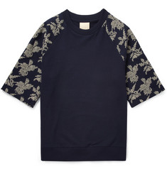 Wooyoungmi Printed Loopback Cotton Short-Sleeved Sweatshirt