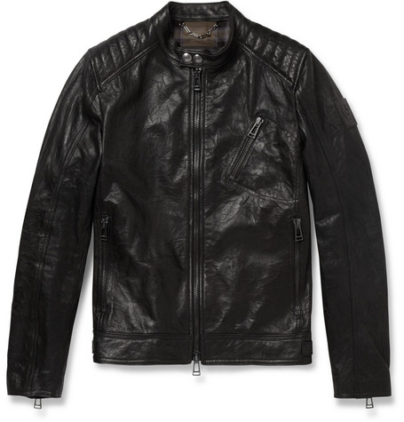Belstaff Kirkham Tumbled-Leather Biker Jacket