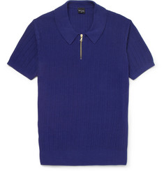 PS by Paul Smith Ribbed Knitted Cotton Polo Shirt