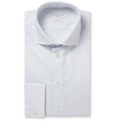 Richard James White Swiss Dot Print Cotton-Poplin Shirt