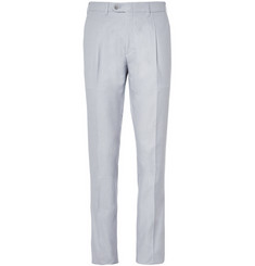 Brioni Tapered Houndstooth Cotton Trousers