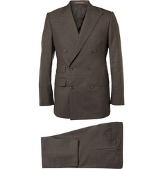 Thom Sweeney Brown Gilbert Double-Breasted Wool Suit