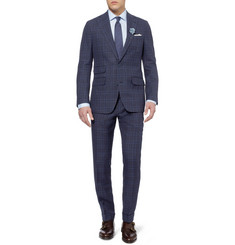 Thom Sweeney Navy Mount Check Linen Suit