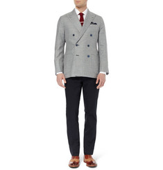 Thom Sweeney Duke Double-Breasted Check Linen Blazer