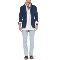 Faconnable Regular-Fit Cotton and Linen-Blend Trousers