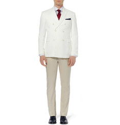 Burberry London Stirling Double-Breasted Cotton and Linen-Blend Piqué Blazer