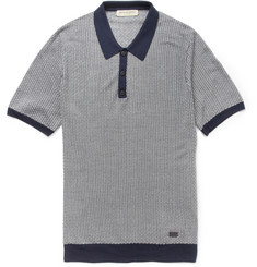 Burberry London Patterned Knitted-Silk Polo Shirt