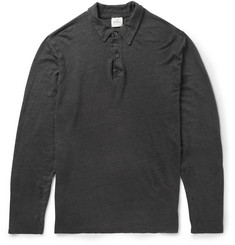 Hartford Slub Linen-Jersey Long-Sleeved Polo Shirt