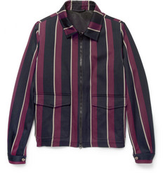 AMI Striped Wool and Cotton-Blend Bomber Jacket