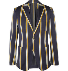 AMI Slim-Fit Striped Wool and Cotton-Blend Suit Jacket