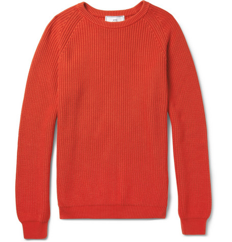 AMI Ribbed-Knit Cotton Sweater