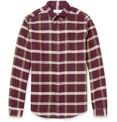 AMI Slim-Fit Plaid Cotton and Linen-Blend Shirt