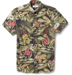 AMI Botanical-Print Linen and Cotton-Blend Shirt