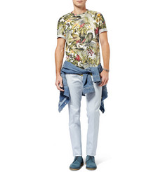 AMI Botanical-Print Cotton-Jersey T-Shirt